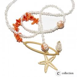 Collar de perlas y coral
